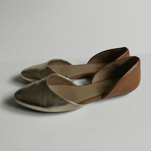 Kenneth Cole Reaction Gold Brown D'orsay flats